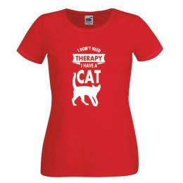 I Don't Need Therapy I Have a Cat -  czerwony damski tshirt